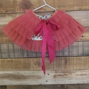Gia Mia ruffle Coral Capelet cape wrap. Joyfolie